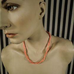 Vintage dobbeltradet halskæde af koralperler