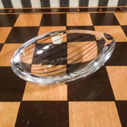 Vintage lille skål i stribet glas fra Vicke Lindstrand, for Kosta Boda