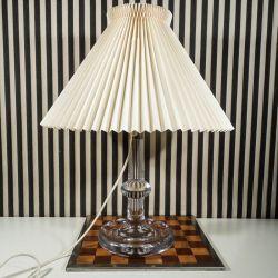 Vintage stor Atlantic bordlampe fra Holmegaard med Le Klint skærm.