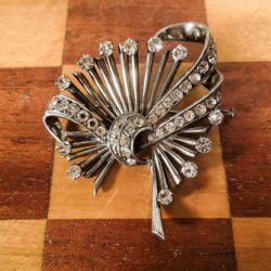 Vintage luksus sølv broche fyldt med klare rhinsten