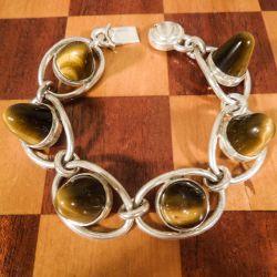 Vintage armbånd fra Niels Erik From i sterling sølv samt tigerøje-sten
