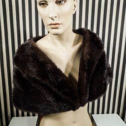 Vintage pels cape af mørkebrun nutria-pels fra A.C. Bang!