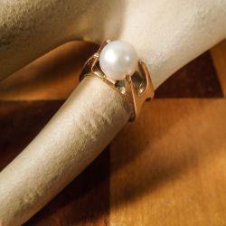 Vintage designer lillefinger-ring i guld med ægte Akoya perle.