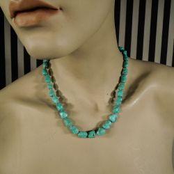 Vintage halskæde med ægte lyseblå turkiser fra Fenster