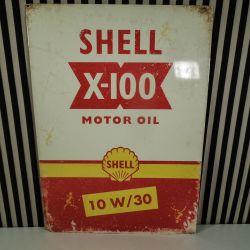 Vintage reklame skilt fra Shell Motor Oil i blik