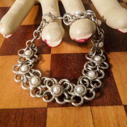 Vintage armlænke i sterling sølv prydet med små ægte kulturperler