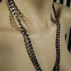 Vintage særdeles kraftig panser sølv halskæde