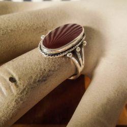 Sølv ring med karneol i skønvirkestil med karneol
