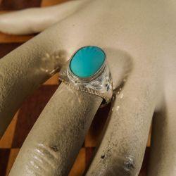 Vintage sølv ring med stor ægte turkis