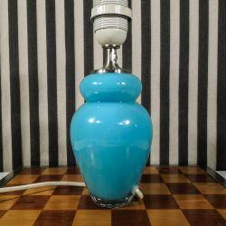 Vintage bordlampe fra Royal Copenhagen i turkis glas, lille model.