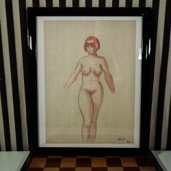 Original blyants tegning - indrammet kvindeportræt