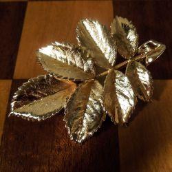 Vintage Flora Danica bladbroche i forgyldt sølv fra Tilia Denmark