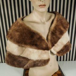 Vintage cape i to nuancer af mink i suveræn kvalitet