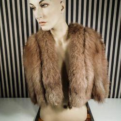 Vintage fantastisk, skuldersyet cape i lysebrun bane-syet ræv.