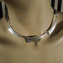 Vintage halscollier fra Herman Siersbøl med asymmetriske store led i sterling sølv