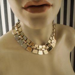 Vintage fantastisk halscollier i forgyldt metal fra tresserne