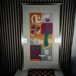 Smuk vintage plakat med motiv af Matisse. Prof. indrammet i sølvfarvet træ-ramme.