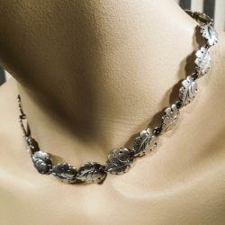 Vintage halskæde med bladformede led  i sterling sølv fra N.E. From. Smuk!